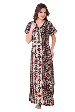 a75aeb950e Masha Women's Cotton Nighty NT52-179 Brown: Amazon.in: Clothing ...