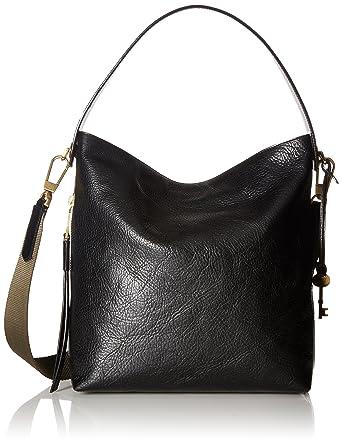06ec9973d Amazon.com: Fossil Maya Small HOBO Handbag, Black: Fossil: Clothing