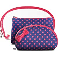 Makeup Travel Toiletry Bags - 3 Bag Kit by LVLY (Pink and Blue Polka Dots)