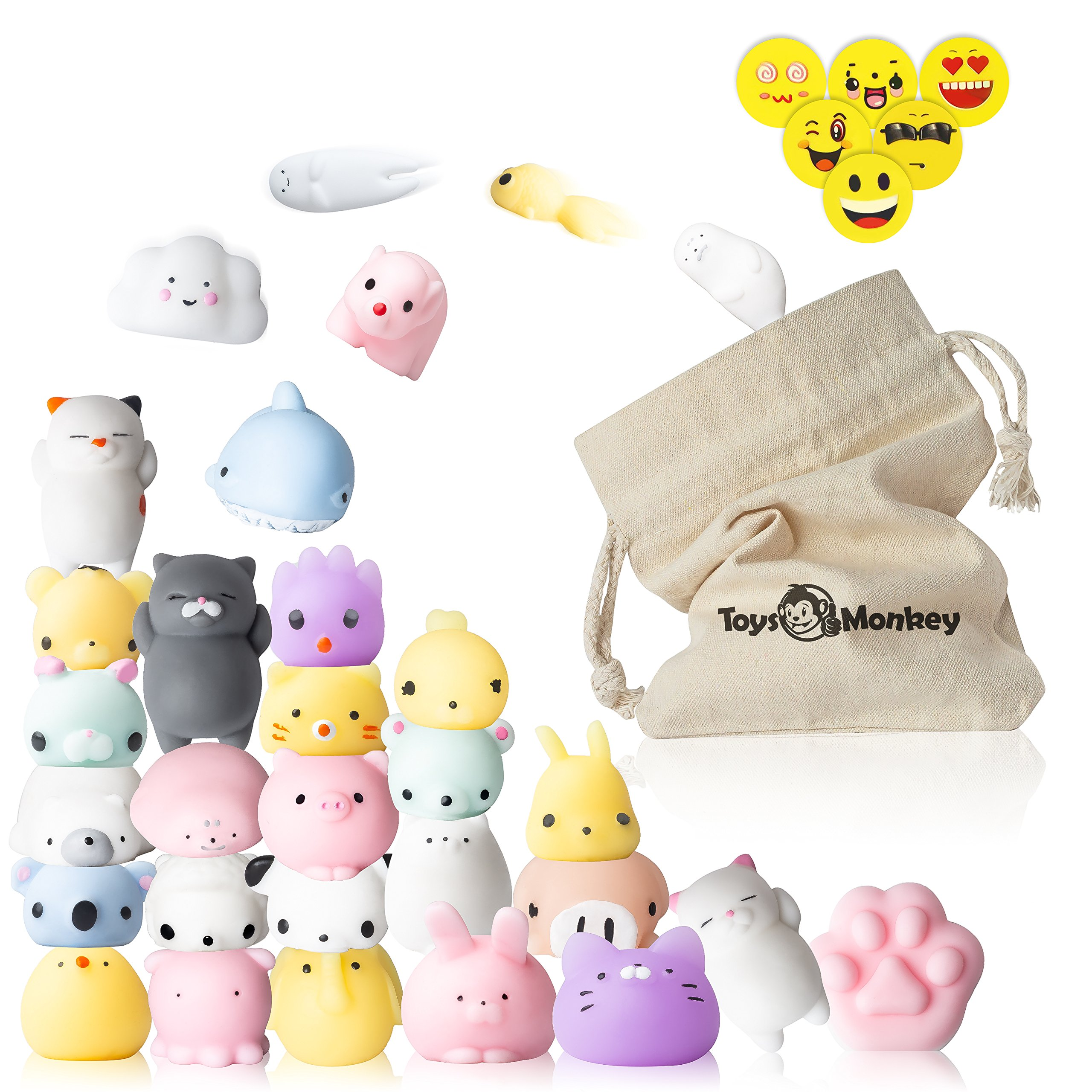 Mochi Squishy Toys, 20 Pcs Animals Stress Relief Kawaii Mini Squishies for Children, Adults, Goodie Bags & Decoration – 4 Smiley Erasers & A Storage Bag Included, Random