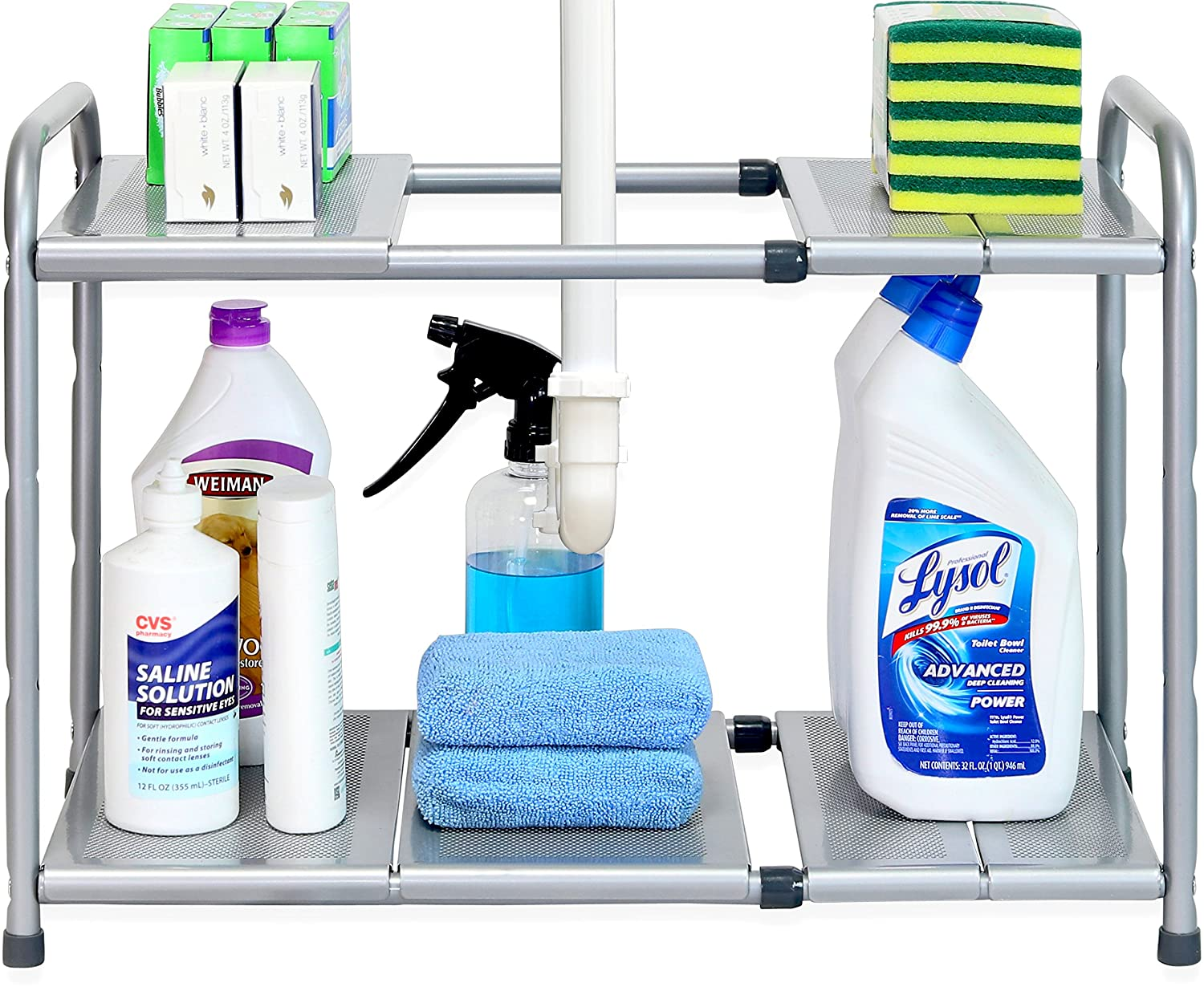 Under Sink 2 Tier Expandable Shelf Organizer Rack, Silver (expand from 15 to 25 inches)