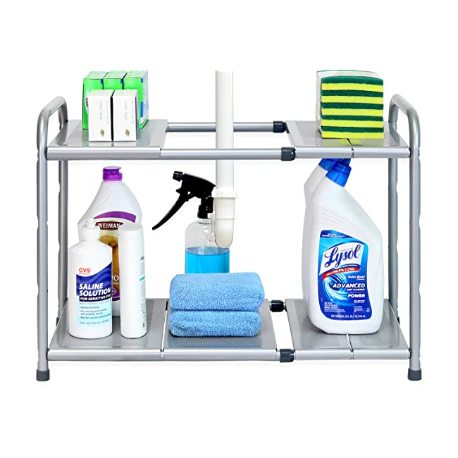 SimpleHouseware Under Sink 2 Tier Expandable S...