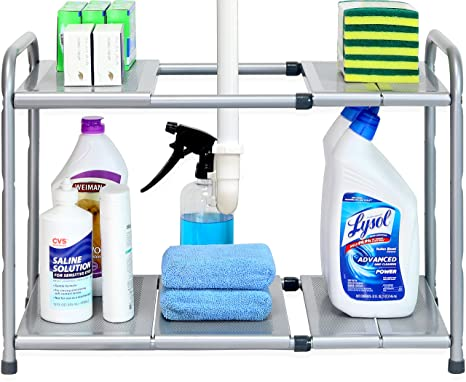 . SimpleHouseware Under Sink 2 Tier Expandable Shelf Organizer Rack  Silver   expand from 15 to 25 inches