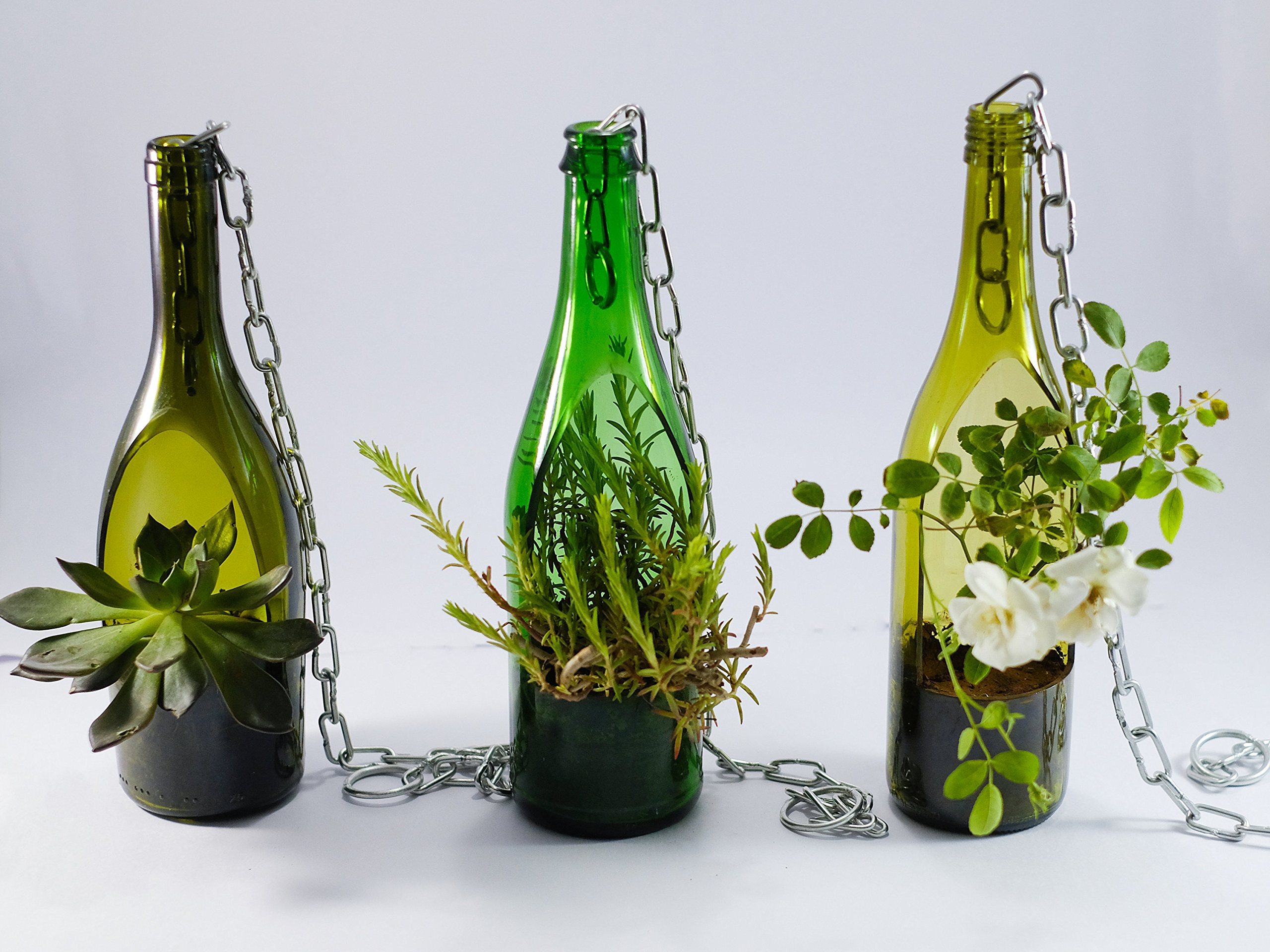 Succulent Planter Made from wine bottle - 2 PLANTERS