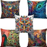 B7 CREATIONS Digital Printed Cushion Cover Set of 5 16x16 inches / 40x40 cms