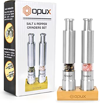 OPUX Premium Salt and Pepper Push Button Grinder