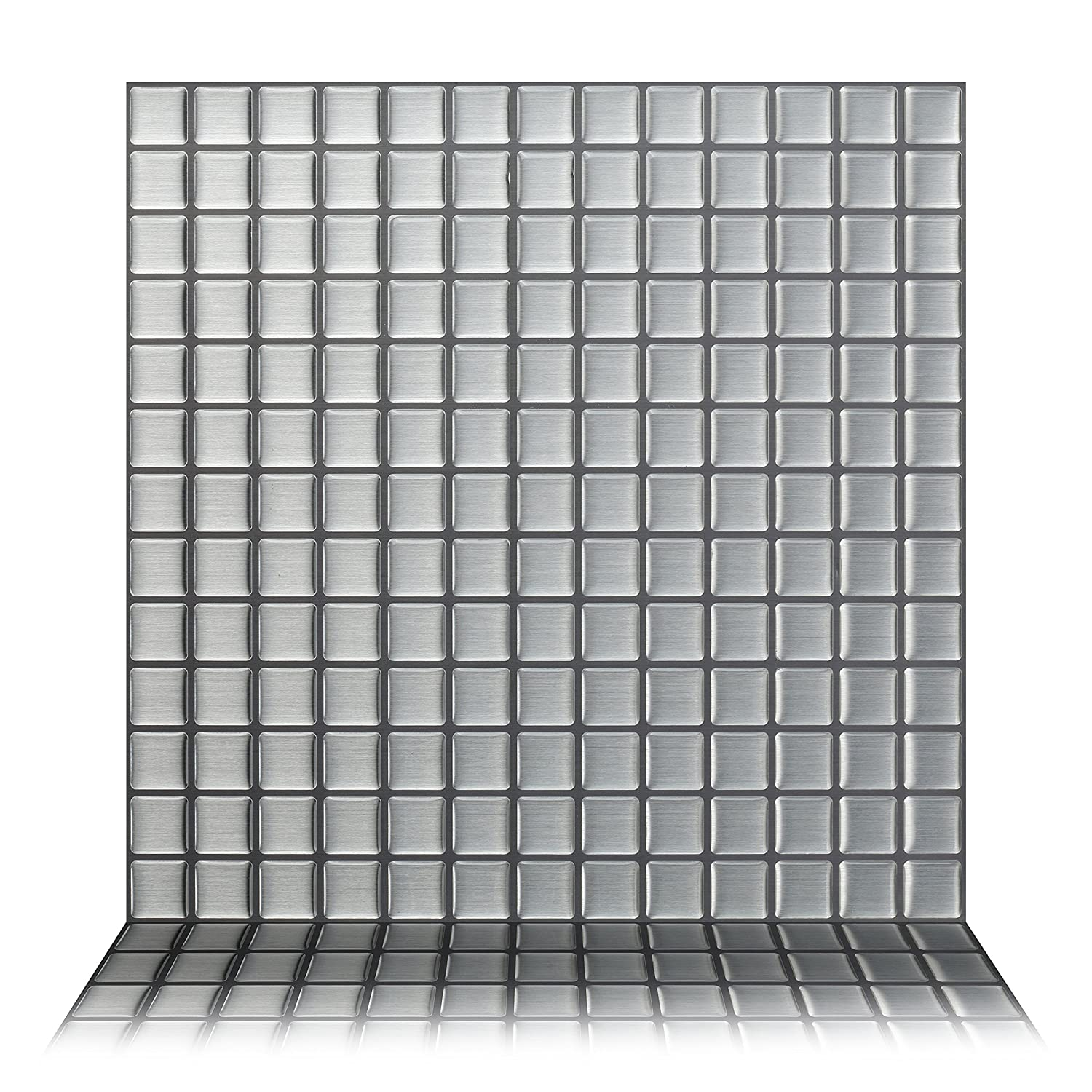 Tic Tac Tiles - Premium Anti Mold Peel and Stick Wall Tile Backsplash in Stainless Square (10 Tiles)