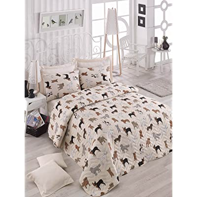 DecoMood Animals Dogs Bedding, Full/Queen Size Bedspread/Coverlet Set, Dogs Themed Girls Boys Bedding, 3 PCS,: Home & Kitchen