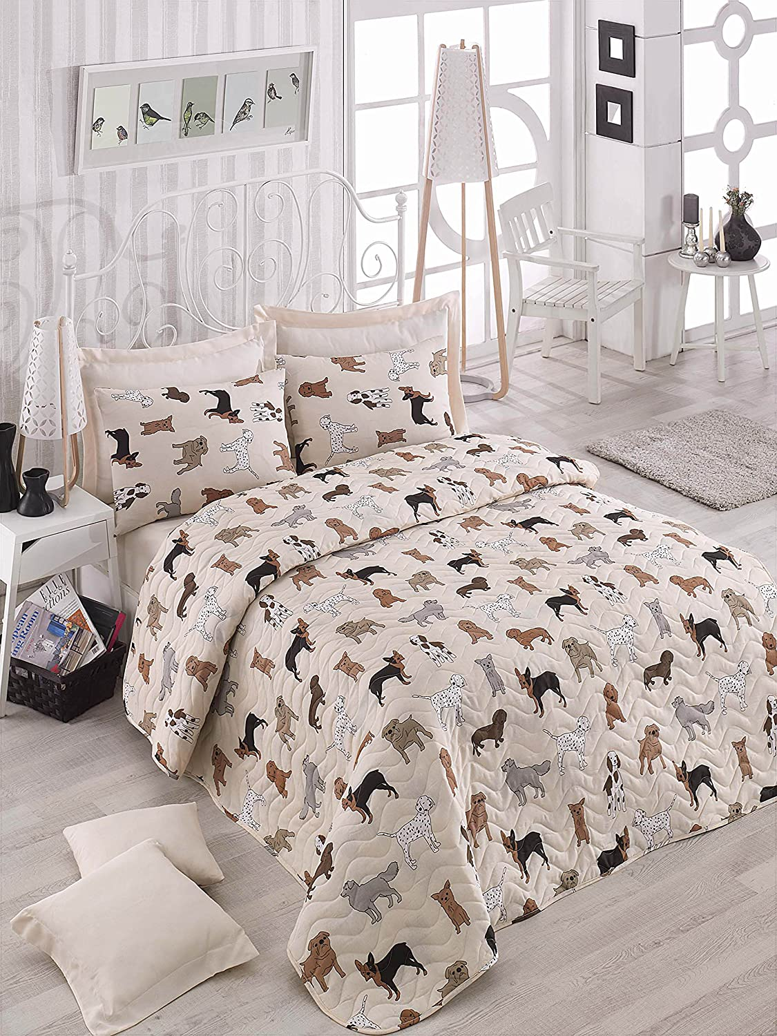 Animals Dogs Bedding, Full/Queen Size Bedspread/Coverlet Set, Dogs Themed Girls Boys Bedding, 3 PCS, DecoMood