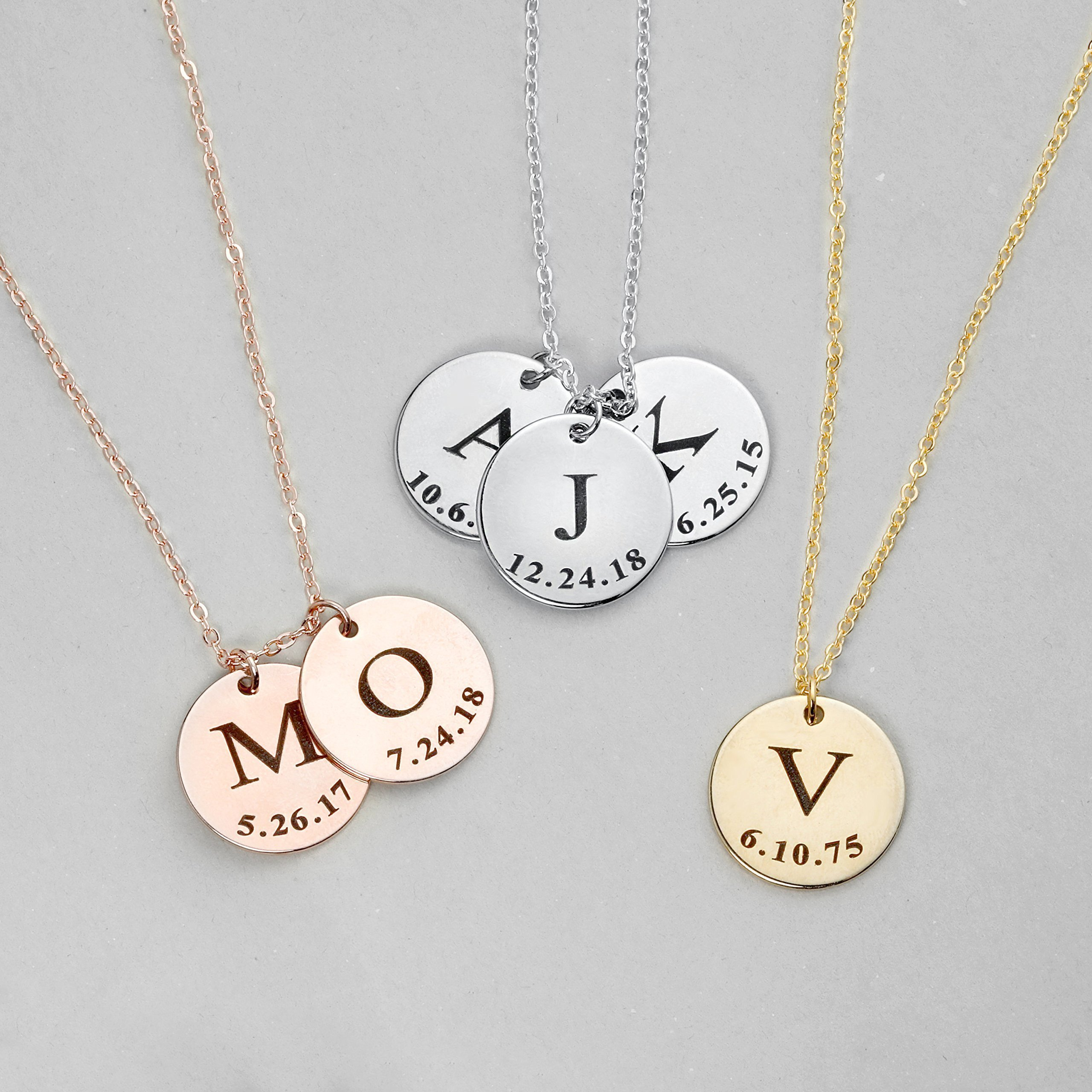 SAME DAY SHIPPING before 12pm Graduation Gift Initial Disc Necklace Coin Children Gift Personalized Initial Jewelry - LCN-ID-L