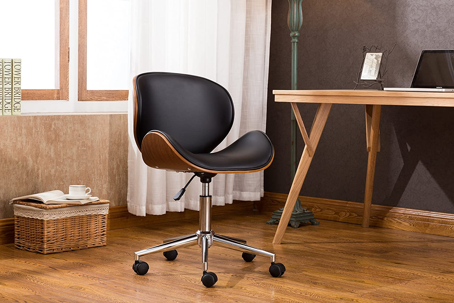 Porthos Home Sedona Office Chair with Instant Height Adjustment, 360° Swivel, Roller Caster Wheels, Bentwood Seat and Back, and PU Leather Upholstery, One Size, Black