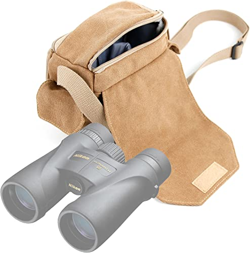 DURAGADGET Light Brown Medium Sized Canvas Carry Bag – Compatible with Nikon Monarch 5 8×42 12×42 10×42 Binoculars