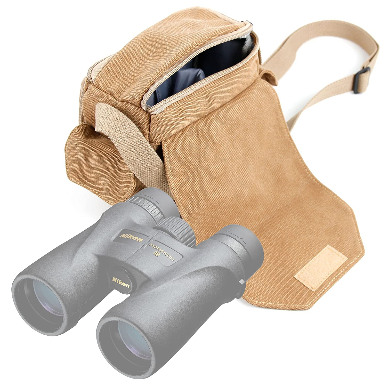 DURAGADGET Light Brown Medium Sized Canvas Carry Bag – Suitable for Nikon Monarch 5 8×42 12×42 10×42 Binoculars – with Multiple Pockets Customizable Interior Compartment
