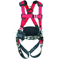 """Protecta 1191209""""Pro Line"""" Construction Vest Style Full Body Harness, Medium/Large, Red/Gray"""