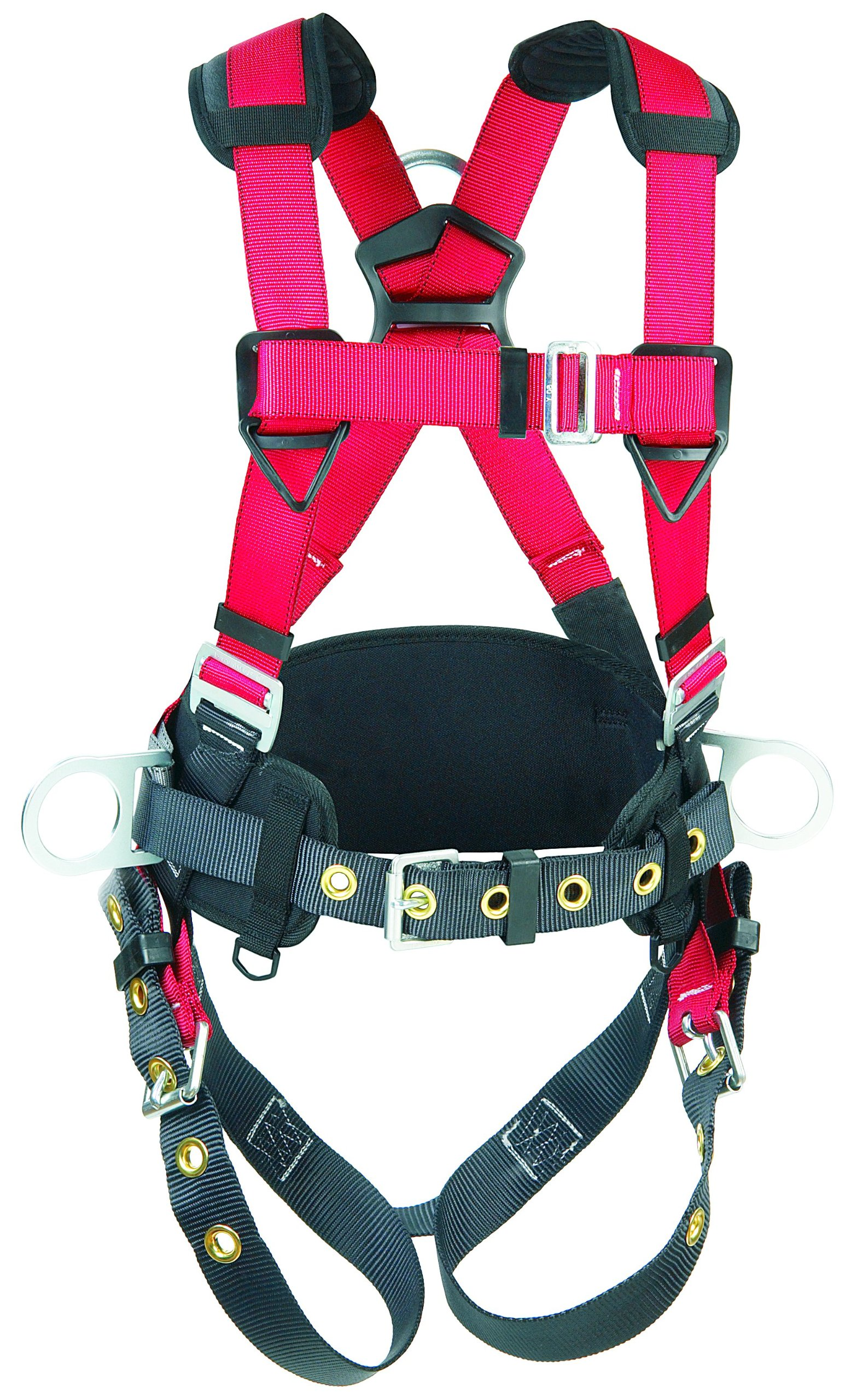 Protecta 1191209''Pro Line'' Construction Vest Style Full Body Harness, Medium/Large, Red/Gray
