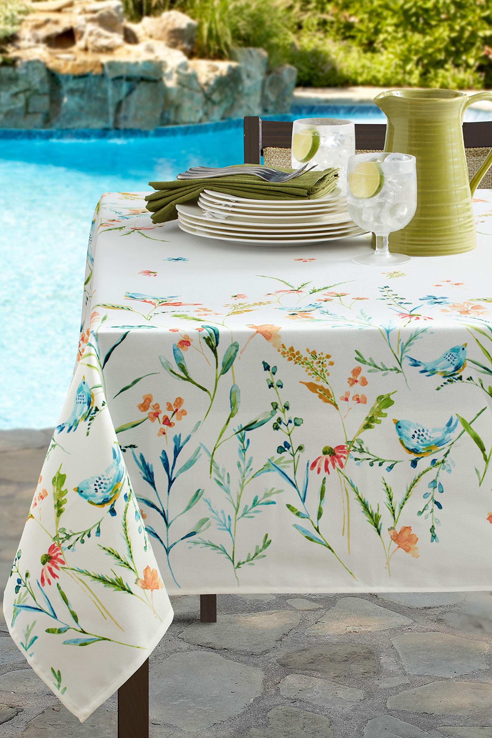 Benson Mills Indoor Outdoor Spillproof Tablecloth for Spring/Summer/Party/Picnic (Milly, 60'' X 120'' Rectangular)