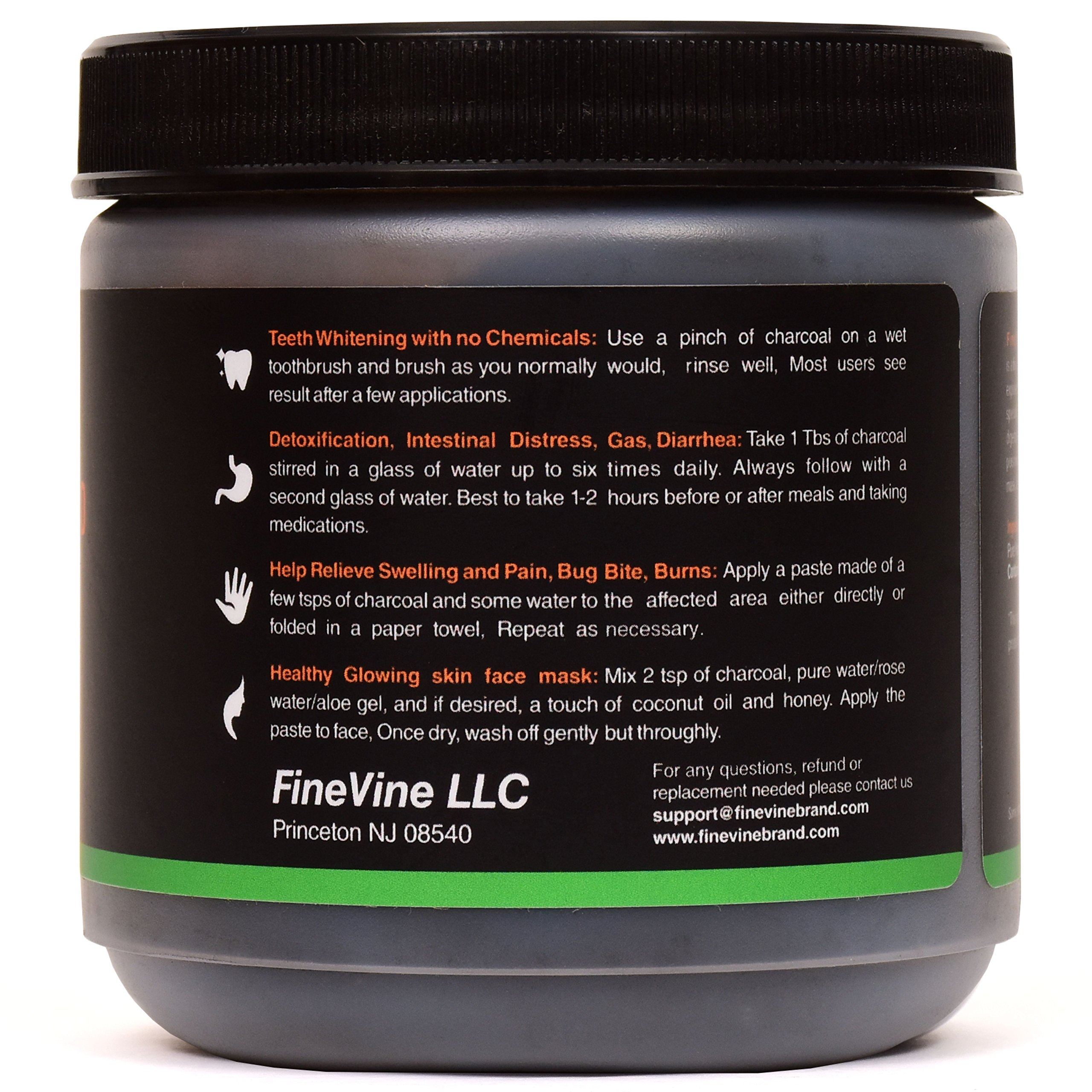 Activated Hardwood Charcoal Powder - Made in USA - Food Grade for Detox, Teeth whitening, Face Mask, Helps Digestion, Bug Bites, Treats Poisoning and Wounds. by FineVine (Image #2)
