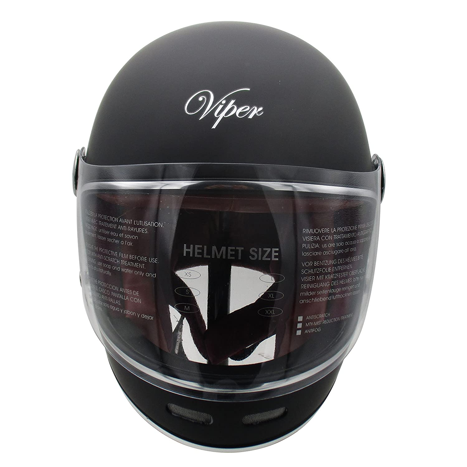 Viper F656 Vintage Motorcycle Bike Helmet Plain Matt Black Large