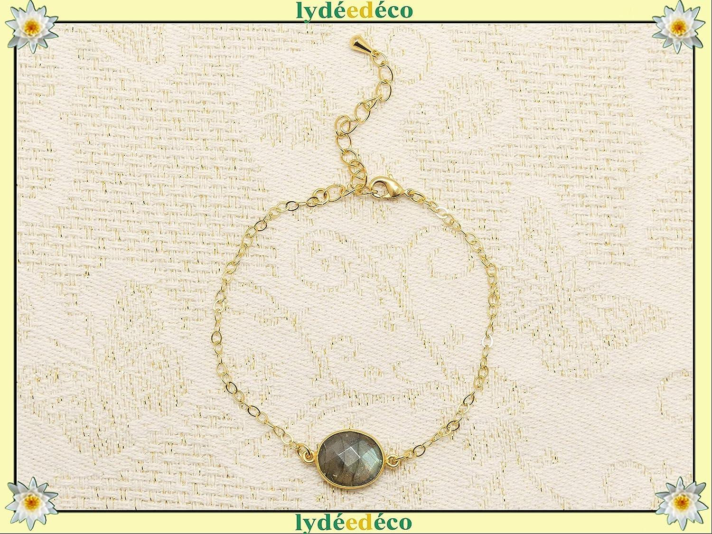 Pulsera LABRADORITE ajustable oro blanco verde blanco regalos navidad aniversario joyería ceremonia de boda invitados día de la madre dama de honor litoterapia piedra preciosa