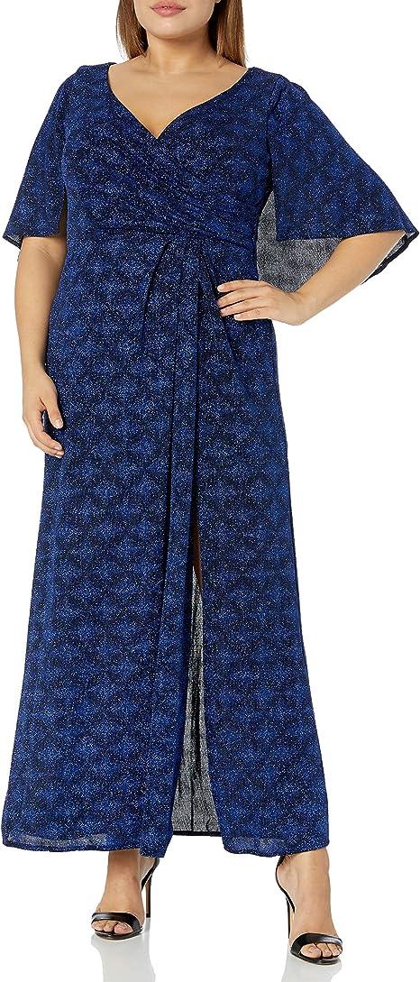 Alex Evenings Women\'s Plus Size Long Metallic Knit Column ...