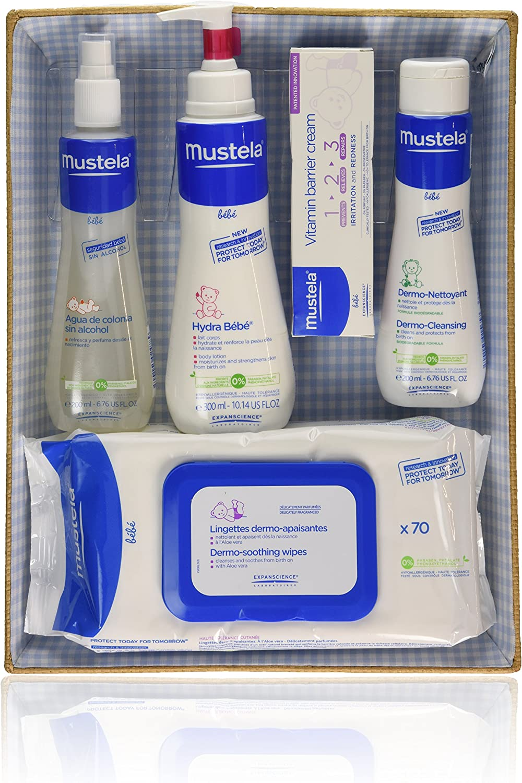 Mustela Bébé - Canastilla azul - Agua de colonia + Hydra Bébé + Vitamin barrier cream + Dermo Nettoyant + Toallitas - 1 pack