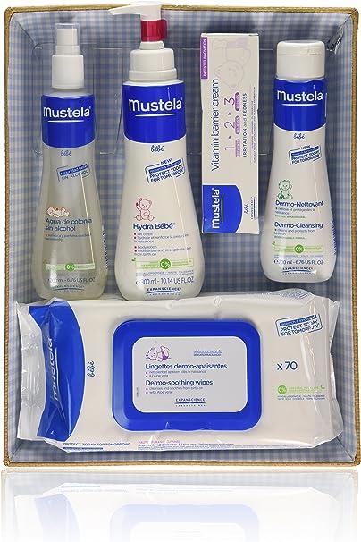 Mustela Bébé - Canastilla azul - Agua de colonia + Hydra Bébé + Vitamin barrier cream + Dermo Nettoyant + Toallitas - 1 pack, Una talla: Amazon.es: Belleza
