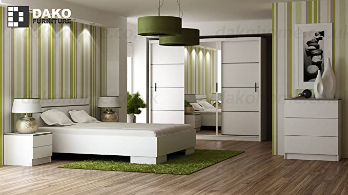 Bedroom Set Collection With Sliding Door Wardrobe With Mirror 180 Cm Width Bed Frame Chest Of Drawers Bedside Table Vista White By Dako Amazon Co Uk Kitchen Home