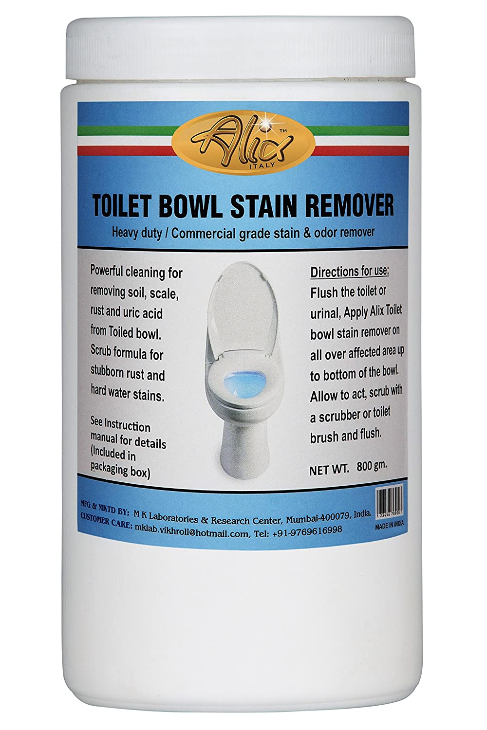 Buy Alix Toilet Bowl Stain Remover (800 gm) Scouring Powder Actively ...