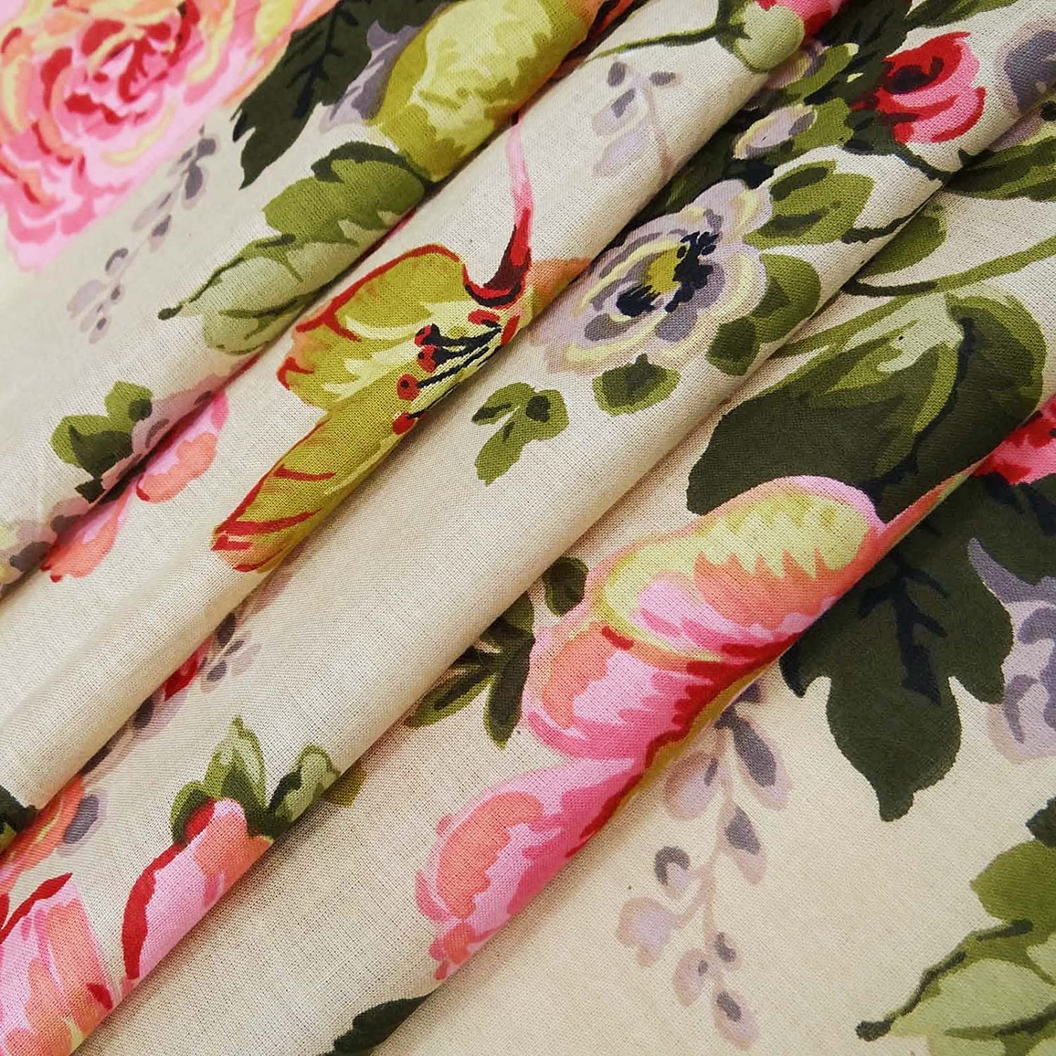 Craft Dressmaking Fabric Beige Fabric Floral Print Quilt Material 43 Inch Cotton Fabric By The Yard ZBC9153C