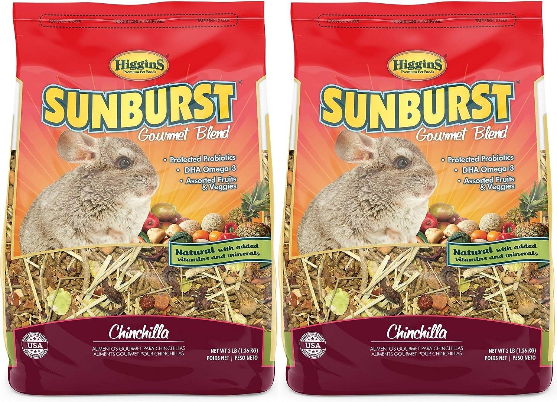 Higgins 2 Pack of Sunburst Gourmet Blend Chinchilla Food, 3 Pounds Each