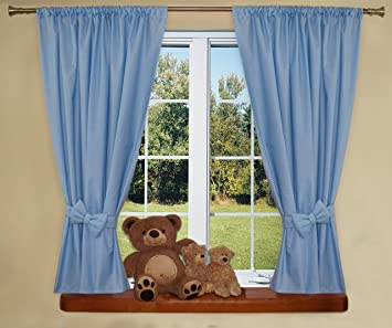 Nursery Curtains For Baby Room With Decorative Bows 62x62 Inch Plain Blue