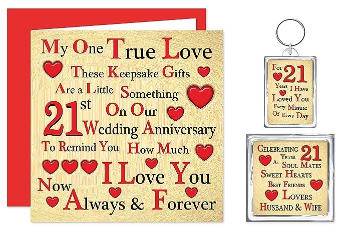 Our 21st Wedding Anniversary Gift Set Card Keyring Fridge