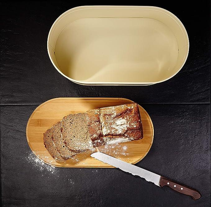 Lumaland Cuisine panera de Metal con Tapa de bambú, Oval, ca. 36 x ...