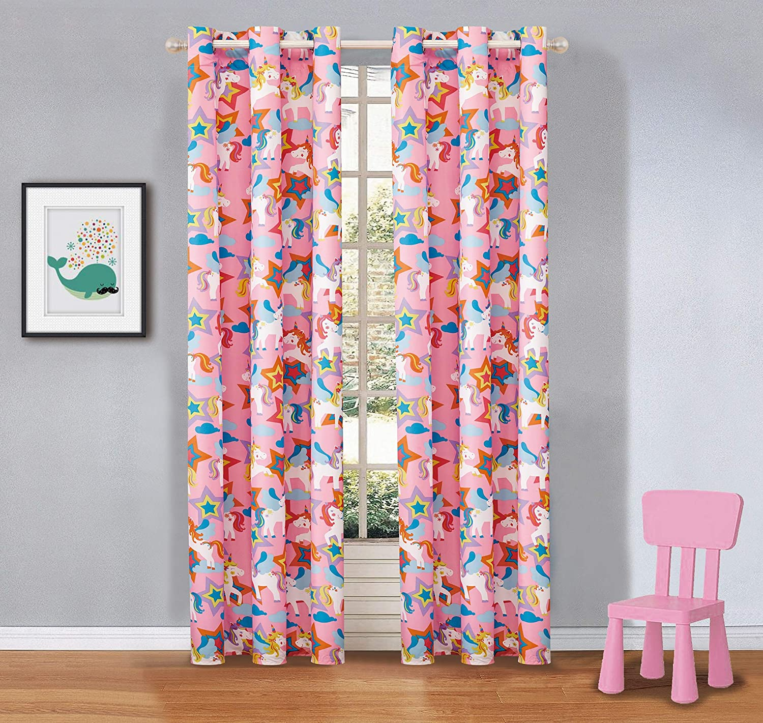 Mk Collection 2 Panel Curtain Set Unicorn Pink Purple White Blue Orange Set New