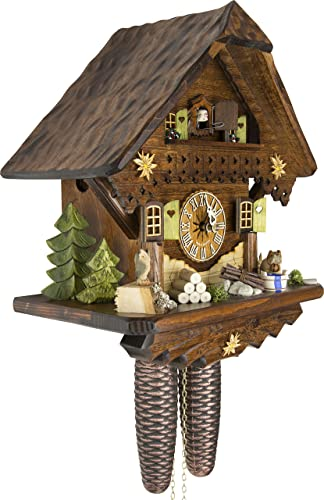 German Cuckoo Clock – Summer Meadow Chalet – BY CUCKOO-PALACE with 8-day-movement – 13 1 3 inches height