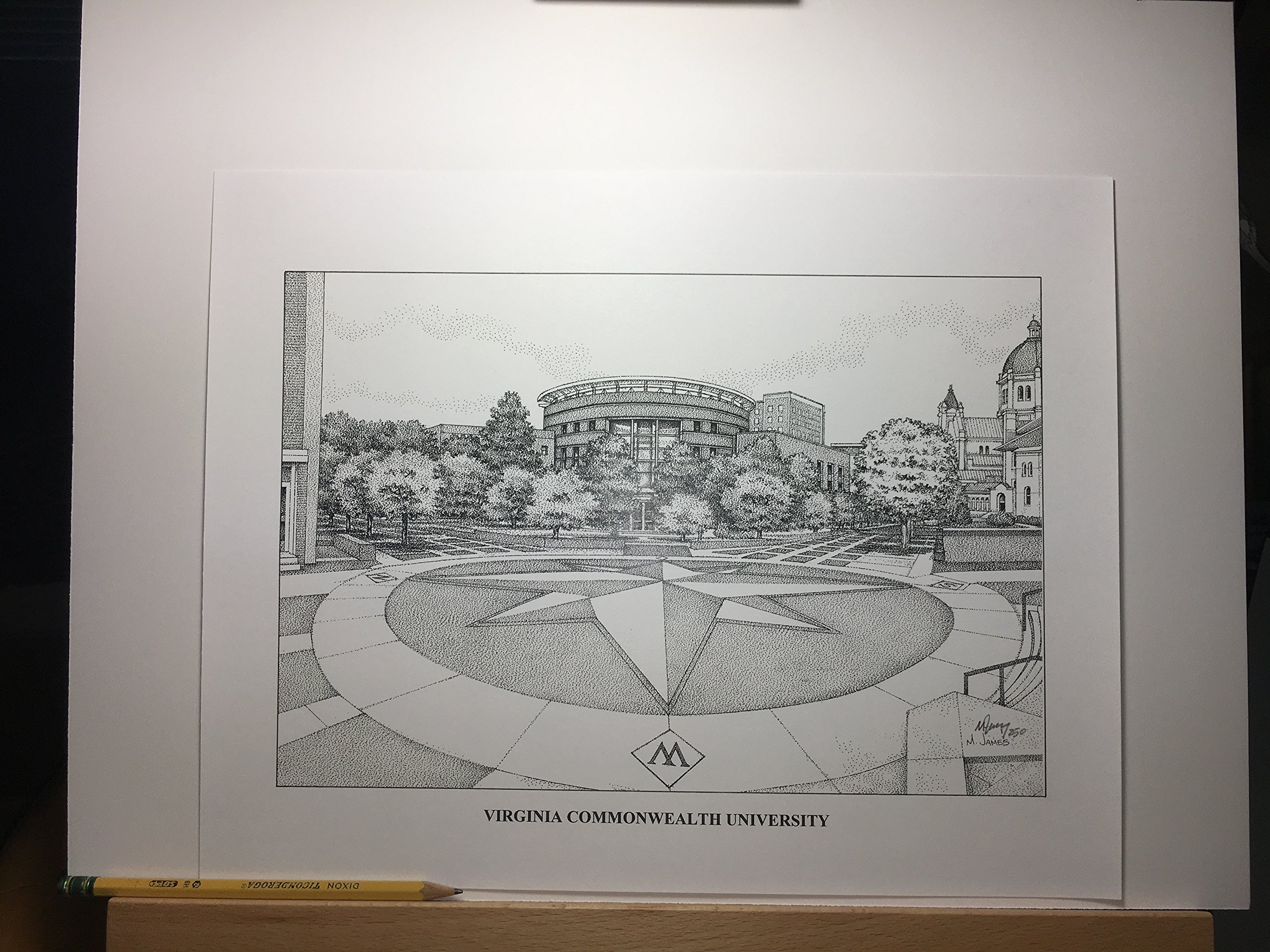 Virginia Commonwealth University - The Compass 11''x14'' hand-drawn pen and ink print