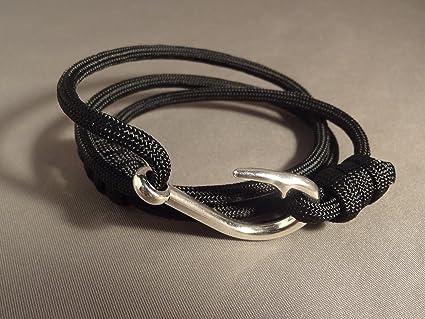 Amazon Com Paracord Wrap Bracelet With Nautical Fish Hook Clasp