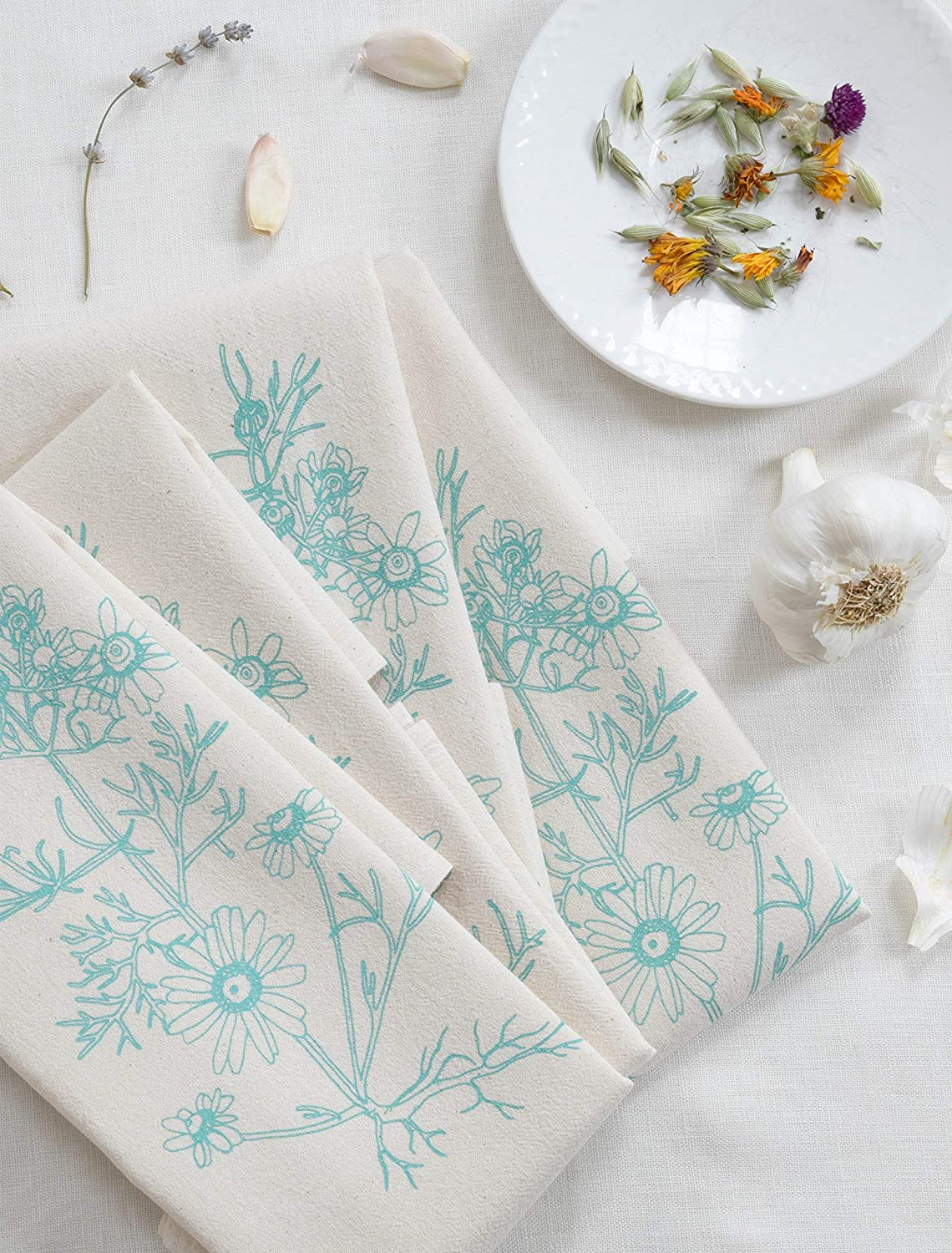 Cloth Dinner Napkins - Set of 4 - Chamomile Print - Handmade - Hand-printed - Unpaper Towels - Cotton Napkins - Washable - Reusable