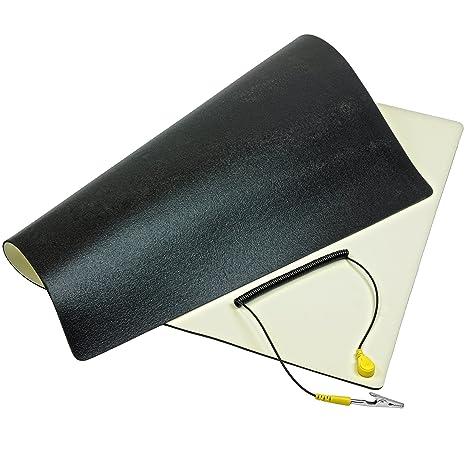 Minadax ESD Antistatik-Matte 30cm x 55cm - Professionelle Antistatische Arbeitsmatte - PVC-Matte mit Erdungskabel - Qualität