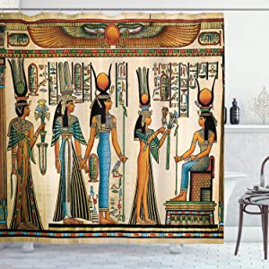 Ambesonne Egyptian Print Shower Curtain, Egyptian Papyrus Depicting Queen Nefertari Making an Offering to Isis Image, Cloth Fabric Bathroom Decor Set with Hooks, 84
