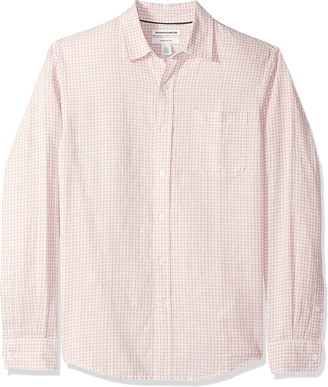 Camisa de lino con manga larga Essentials corte entallado y estampado para hombre