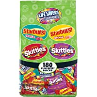 Assorted Wrigley Skittles, Starburst and Life Savers Gummies Halloween Candy Bag, 180 Fun Size Pieces, 68.7 ounce