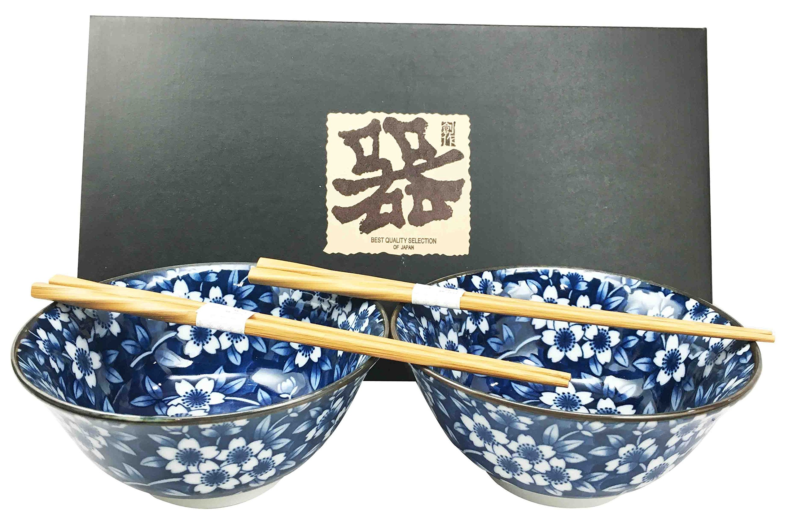 Japanese Floral Pattern Blue Ceramic Rice or Meal Bowl and Chopsticks Set Serves Two Great Gift For College Students Housewarming Asian Living Home Decor by Gifts & Decors (Image #1)