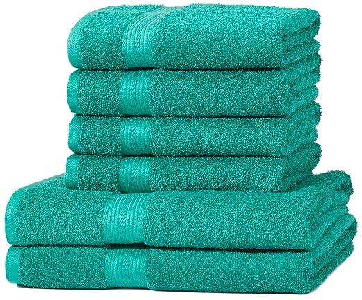 176 opinioni per AmazonBasics- Set di 2 asciugamani da bagno e 4 asciugamani per le mani che non