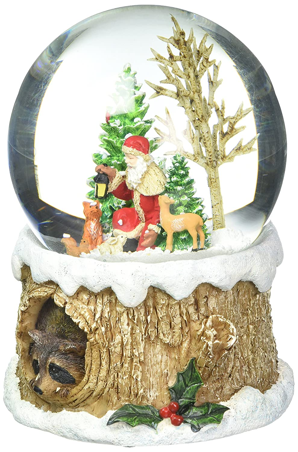 Glitterdomes 100mm Musical Glitter Dome, Features Santa with Woodland Animals on a Tree Like Base with a Racoon Peeking Out, 5.75-Inch Roman 32081