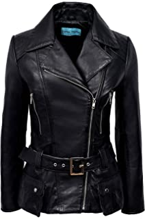 Ladies Leather Jacket Black Fashion Stylish Biker Style 100/% REAL LAMBSKIN 5816