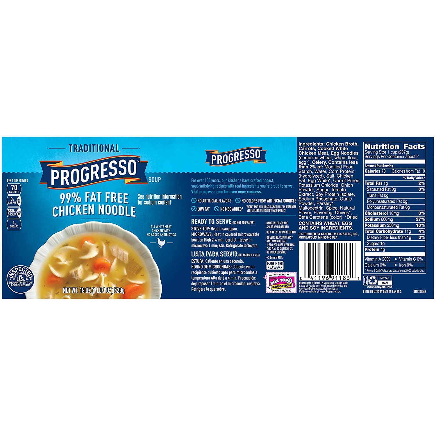 Progresso Soup, Traditional, 99% Fat Free Chicken Noodle Soup, 19 oz Can