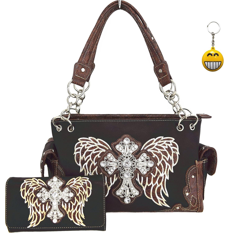 Western Cowgirl Concealed Carry Cross Angel Wings Purse Handbag Messenger Shoulder Bag Wallet Set Coffee