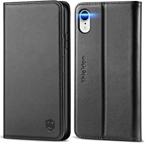 SHIELDON iPhone XR Case, Genuine Leather Flip iPhone XR Wallet Case with RFID Blocking Credit Card Holder Shockproof Case Compatible with iPhone XR (6.1 Inch 2018) - Black