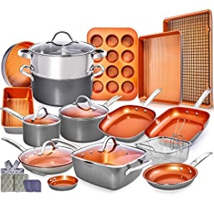 Copper Pots and Pans Set - 23pc Red Copper Cookware Set Copper Pan Set Ceramic Cookware Set Ceramic Pots and Pans Set Induction Cookware Sets Pot and Pan Set Pots and Pans Set Nonstick Cookware Set